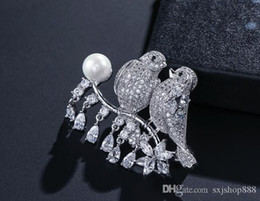 pearl sets Australia - Creative high-grade exquisite magpie brooch love bird pearl set zircon high-grade brooch female