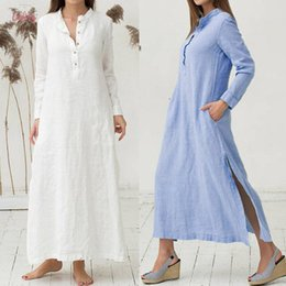 Wholesale womens summer dress shirts for sale – plus size Womens Dress Kaftan Long Sleeve Plain Casaul Dress Oversized Cotton Maxi Long Shirt Dress Jul20 Designer Clothes