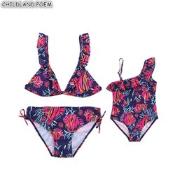 c000e08008acd Mother Daughter Swimsuit Floral Family Look Mom And Daughter Swimwear  Bikini Mommy And Me Bathing Suit Family Matching Clothes Y19051103