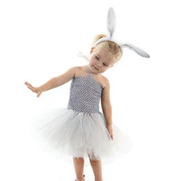 Cute Casual spring outfits online shopping - 2pcs Kids clothing suit casual cotton toddler Easter bunny girls overalls princess dress hair sticks set outfits children clothing