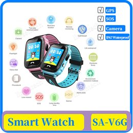 kids sos gps smart watch Australia - Waterproof V6G Children's Smart Telephone Watch GPS Tracker Watch Monitor SOS Call With Camera Lighting Kids Smart Watches Boys