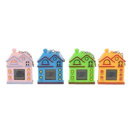 Virtual Games UK - Nostalgic Game Machine With Keychain Mini House Design Key Ring Virtual Digital Electronic Pets Toy Keychain 4 Colors