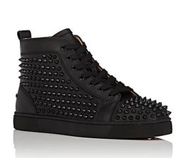 $enCountryForm.capitalKeyWord UK - Wholesale Fashion 2019 black glitter Men Brand Designer Red Bottoms Shoes High Top Genuine Leather Casual Flat Margiela Sneakers big #987