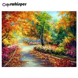 tree scenery paintings UK - Diamond Painting Full Square Round Drill Colorful Tree Scenery 5D Daimond Painting Embroidery Cross Stitch Crystal Mosaic Z376