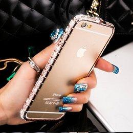 Iphone Metal Bumper Diamond Australia - For iPhone Case Luxury Bling Diamond Bumper For iPhone 8 7 6 6S Plus Case Glitter Crystal Rhinestone Snake Inlay Metal Frame Cover