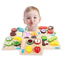 wooden vegetables toys NZ - Montessori Toys Educational Wooden Toys for Children Early Learning 3D Kitchen Cutting Fruit Vegetables Board Real Life Games