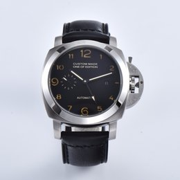Discount 44mm watches - Seagull Automatic Movement 44MM Watch Silver 316L Stainless Steel Case Luminous Hands Black Leather Strap 415-5