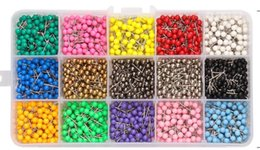 Pins Pack Australia - 10000 PCS set 17 kind colors can be choose 4x11mm multi-color bead head shape map push pins packed in plastic box free shipping wholesale