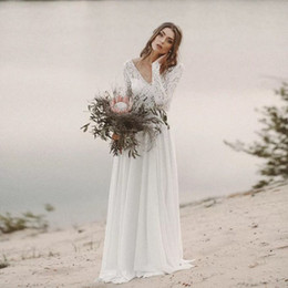 low back wedding dress styles Australia - Latest 2019 Boho Wedding Dress Beach Style Illusion Lace Bodice Low Cut Back Long Sleeves White Lace and Chiffon Custom Bridal Gowns