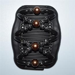 acconciature Black coffee plum blossom magic comb Doppio pettine magico capelli africani farfalla ali d'angelo stile 20 pz / lotto