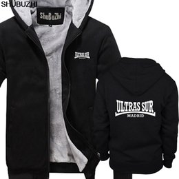 Discount real madrid fans - Ultras Sur Madrid winter thick hoodies Real Ultra Football Fan Spain warm hoodie Fashion winter jacket male coat sbz1110