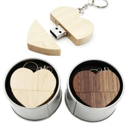 external storage flash drive NZ - wooden usb (over 30PCS free logo) USB 2.0 External Storage Love+metal box pen drive 4GB 8GB 16GB 32GB 64GB flash drive