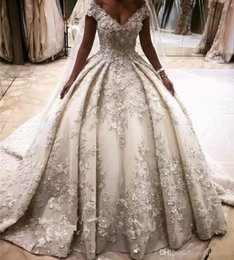 Monarch wedding dresses online shopping - Luxury Ivory Capped Sleeves Designer Wedding Dresses D Flower Lace Appliques Puffy Wedding Bridal Gowns Cathedral Train Wedding Gowns