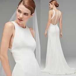 White Ivory Mermaid Wedding Australia - 2019 White Ivory Mermaid Wedding Dresses Elegent Sheath Sleeveless Simple Boho Sheer Back Bottom Bridal Gowns Custom Made