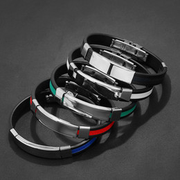 Silicon jewelry online shopping - New Simple Handmade Men Punk Stainless Steel silicon Charm Bracelets Bangle Jewelry Christmas Birthday Gift