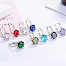 $enCountryForm.capitalKeyWord NZ - Fashion Silver Color Zircon Earrings Blue Pink Red Black Ear Clip Earrings Jewelry for Women Girls Party Gift