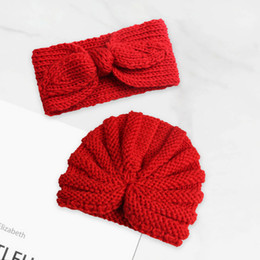 $enCountryForm.capitalKeyWord Australia - hot sales New children's baby knitted earmuffs wool hat baby knitted wool warm rabbit ears hair band two-piece 5pcs