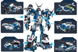 blocks police NZ - new Transformation Police Robot Figures Building Bricks Enlighten Mecha 6in1 Building Blocks Action Figures Bricks Toy