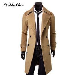 $enCountryForm.capitalKeyWord NZ - NEW Fashion Brand Autumn Jacket Long Trench Coat Men Top Quality Slim Black Male Overcoat Mens Khaki Coat trenchcoat Windbreaker
