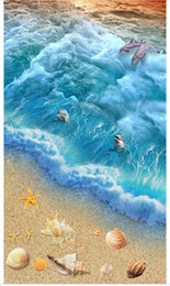 $enCountryForm.capitalKeyWord Australia - Customized 3D self-adhesive floor photo mural wallpaper Seaside spray dolphin play 3D marine world waterproof floor stickers