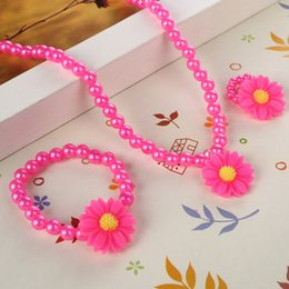 $enCountryForm.capitalKeyWord Australia - Cute Pink Simulated Pearl Beads Kid Jewelry Sets Resin Rose Flower & Sun flower Pendant Necklace Bracelet Ring For Child gifts