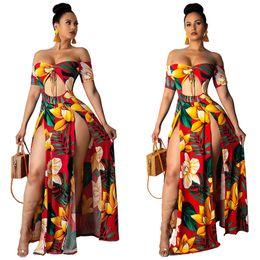 Wholesale women s dress fabrics for sale - Group buy 2019 Sexy Print Slit Women Maxi Dresses Summer Strapless Long Dress Pattern Floral Milk Fabric Dress Short Sleeve Long