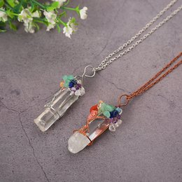 $enCountryForm.capitalKeyWord Australia - Natural Stone Necklace Women Pendant Colorful Transparent Prismatic Drop Sweater Chain Crystal Necklace Gemstone Jewelry Wholesale Jewellery