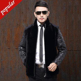 $enCountryForm.capitalKeyWord Australia - New Winter Men Short Faux Mink Pu Leather Sleeve Patchwork Coats Male Stand Collar Outerwear Casual Fur Jackets W1156