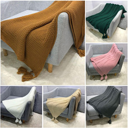 Wholesale purple knit blanket for sale - Group buy 130 CM Nordic Style INS Sofa Cover Blanket Home Office Nap Blankets Tassel Knitted Ball Leisure Air Conditioner Small Blanket M134