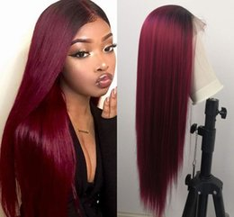 tone wigs for black women UK - Long Burgundy Lace Front Wig Two Tones Omber 99j Wine Red Color Straight Synthetic Wig with Black Roots for Women 24inch