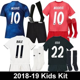 football league NZ - Real Madrid EA Sports Kids Kit Jerseys MODRIC MARIANO ASENSIO BALE Champion league 18 19 football Uniform kids camisetas Football Sets