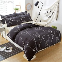 $enCountryForm.capitalKeyWord Australia - New Arrival Abstract White Tree Branch Print on Black Duvet Cover Set Twin Full Queen King Size Bedding Set Bed Linen Bedclothes