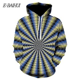 colorful mens shirts 2021 - E-BAIHUI Mens Swirl Printed Pullover Round Neck Sweatshirt T-shirt Colorful Tide Men Casual Visual Effects Hooded sweate
