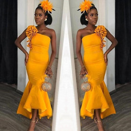 yellow bridesmaid flowers UK - 2020 Modern African One Shoulder Hi Lo Mermaid Prom Dresses Flower Ruffles Ankle Length Eevning Gown Bridesmaid Dress Formal Party Wear