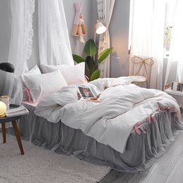 King duvet cover sets grey online shopping - White Grey Cotton Lace Princess bedding sets twin queen king size girls kids bedding set duvet cover bed sheet linen set