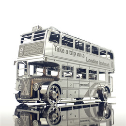 toy car model buses UK - MMZ MODEL Nanyuan 3D Metal model kits London Bus Car Assemble Model puzzle I22207 2 sheets DIY 3D Laser Cut Jigsaw Toy Y200413