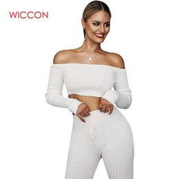 ladies sexy white pant suit NZ - 2019 Slash Neck 2 Piece Clothing Set Women Long Sleeve Crop Top And Pants Suit Ladies Sexy Leisure Two Piece Spring Tracksuit