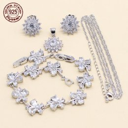 $enCountryForm.capitalKeyWord Australia - Women Bridal Jewelry Set 925 Silver Earrings Chain Pendant Extended Bracelet Flower White Cubic Zirconia 2018 Christmas Gift