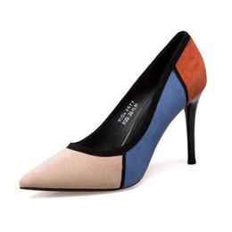Zapatos de vestir Colores mezclados Flock Tacones altos de las mujeres Punta estrecha Mujeres Moda Mujeres Bombas Tamaño de la oficina 34-39 B1289 en venta