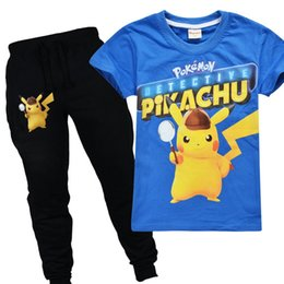 66187b27d29b3 2019 New Kawaii Anime 3D Two Piece Set Baby Boys Go Pikachu Tops + long  Pants Elastic Waist Tracksuit Kids Clothes