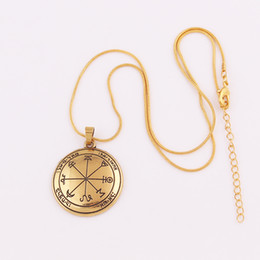 Rhodium Plated Coins Wholesale NZ - HY051 Nordic zinc alloy jewelry pagan necklace vintage religious rhodium plated rune coin amulet pendant necklaces for women gold plated