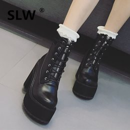 $enCountryForm.capitalKeyWord NZ - Rock Shoes Woman Boots Chunky Heel Winter Women Lace Up Round Toe Clogs Platform For High 2019 Lolita Booties Black