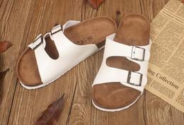 Discount unisex wood slippers - New Summer Hot Sell Women Flat Cork Slippers Sandals Flip Flops Shoes Beach Shoes Good wear comfortable shoes