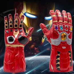Discount blue latex gloves - 4 Endgame Iron Man Infinity Gauntlet Hulk Cosplay Arm Thanos Latex Gloves Arms Mask Superhero Party Props