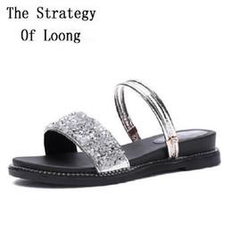 5b171791441d28 Korean Style Bling Open The Toe Flat Heels Black Women Sandals Peep Toe 2  Wear Way Summer Fashion Lady Sandals 20180725