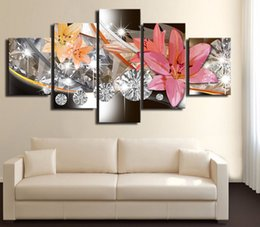 $enCountryForm.capitalKeyWord Australia - Wealth and Luxury Golden Lilies Flowers Prints Canvas Painting 5 Panel Blossom Poster Modern Wall Art Home Decor(No Frame)