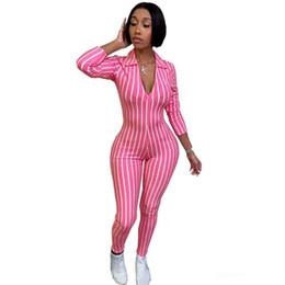 $enCountryForm.capitalKeyWord UK - Wholesale designer sexy bodysuit tracksuit rompers womens jumpsuit long sleeve skinny striped print slim casual overalls combinaison femme