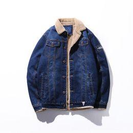 $enCountryForm.capitalKeyWord UK - Men Winter Jeans Jacket Windbreaker Warm Coat Plus Size Casual Pocket Patchwork Streetwear Male Denim Jacket
