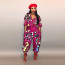 3db9fba94e65 Sexy Women One Piece Outfits Canada - Women Sexy One Piece Jumpsuits hiphop  Letters Designer Tracksuits