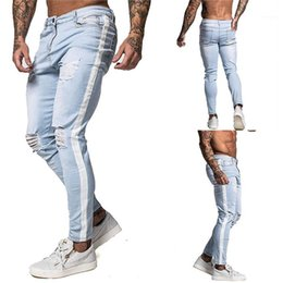 Wholesale mens skinny leg jeans resale online – designer Light Colored Hole Jeans Casual Skinny Midrise Straight Leg Pants Male Designer Jeans Mens